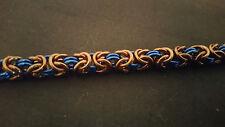 Bronze and Blue Anodized Aluminum Byzantine Chain mail Bracelet
