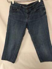 Ann Taylor LOFT Capri 4P Petite Blue Jeans Light 5 Pocket Lace Stitch #397