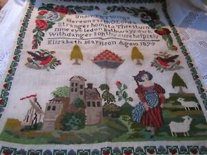 Antique Victorian Hand Embroidery Sampler House Lady Sheep Flowers & Birds 1879