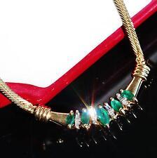 "17.0"" Handmade 10k yellow gold 0.75ct Colombian emerlad diamond necklace 6.6gr"