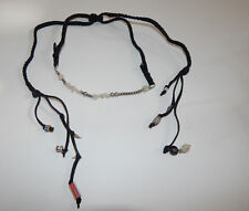 FREE PEOPLE NECKLACE BLACK SUEDE BRAID BEADS ADJUSTABLE CHOKER LONG LENGTH #500