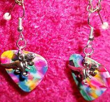 Dinosaur T-Rex Silver Plated Dangle Jewelry Rainbow Tie Dye Guitar Pick Earrings
