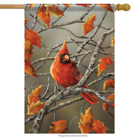 "Autumn Leaves Cardinal House Flag Fall Decorative Double Sided 28""  x 40"""