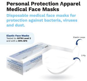 【ASTM Level 2】REYNARD Disposable 3-Ply Surgical Medical Earloop Face Masks 50/Bx