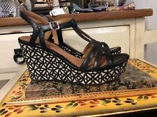 Clarks Artisan 26068411 Wise Sz 8 Black Leather Strappy Wedge Sandal Heels, EUC