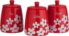 Rojo Scatter Cerámica Floral Azúcar De Café Té almacenaje BOTES Botes Juego