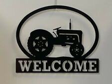 "Tractor Welcome Metal Sign 16"" X 13"" Decor Farm Home"