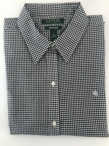 LAUREN RALPH LAUREN Black&White Gingham Check Non-Iron 3/4 Slv  Women SHIRT
