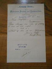 Antique 1903 Knapp Bros Furniture Dealers & Undertakers Mazomanie Wisconsin Kiel