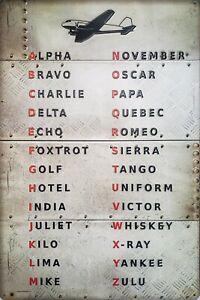 PILOT AVIATION EMBOSSED ART METAL SIGN Phonetic alphabet Alpha Bravo unframed