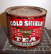Vintage Gold Shield ceylon orange Black india Pekoe 8 oz Tea tin, Great colors