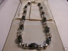 925 SILVER AND OBSIDIAN LADY'S NECKLACE BEAUTIFUL
