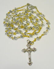 Rosary SILVER Crystal beads 6mm with 40mm shapely cross and Marian Centre. Nice!