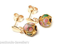 9ct Gold Chinese Enamel Ball drop earrings Gift Boxed Made in UK