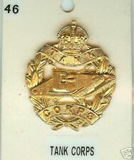Cap Badge Brass Army  Tank Corps GV
