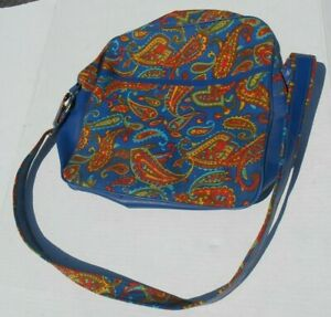 Vintage Bantam Travelware Blue Psychedelic Paisley Carry On Luggage Bag