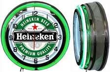 "18"" Heineken Beer Green Neon Clock Chrome Finish Man Cave Bar Garage"