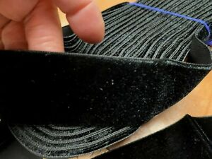 "Vintage Rayon Taffeta Back Velvet Ribbon 1.5"" Black Woven Edge 1yd France"