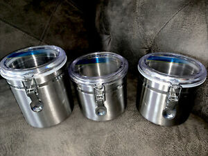 Anchor Hocking Round Stainless Steel Canister Set with Clear Acrylic Lid 3