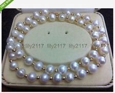 "Genuine 10-11mm akoya perfect white south sea pearl necklace 18 ""14k clasp"