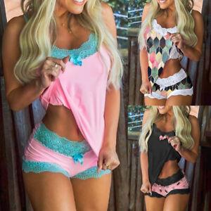 Sexy Pajamas Set Women Lace Lingerie Vest Shorts Underwear Sleepwear Babydoll UK