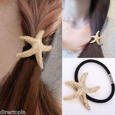 Gold starfish pompon cheveux élastique style vintage bande mer shell beach mermaid