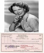 ELEANOR POWELL   FILM STAR ACTRESS   SIGNED BANK CHEQUE / CHECK  1972  RARE ITEM