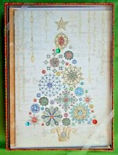 PUNCH STUDIO Christmas Tree Jewel & Glitter Embellished Christmas Cards - 12