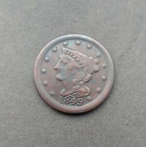 1849 Braided Hair Half Cent USA