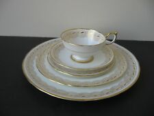Vtg AYNSLEY BONE CHINA 8073 WHITE & GOLD DESIGNS 5 PIECES PLACE SETTING