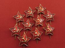 Soviet Russian Army Soldier Insignia USSR Hat Metal Cockade Red Star Badge 10Pcs