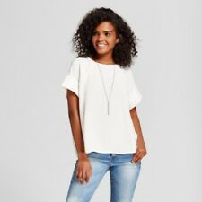 NEW Women's Short Sleeve Top with Seaming Detail Mossimo  White M