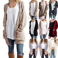 Women's Ladies Chunky Cable Knit Cardigan Pocket Long Sleeves Grandad Plus Size