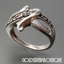 RENAISSANCE JEWELRY 925 SILVER WHITE & BLACK DIAMOND ACCENTS RING, SIZE 7 #1340