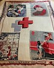 """Vintage Goodwin Weavers Red Cross Cotton Tapestry Blanket Throw NICE  70""""x 60"""""""