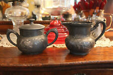 Antique Etched Silver Sugar and Creamer, Victorian Silver Plated Set Props