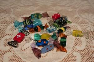 Murano Glass Lollies / Bonbons / Lolly Sculptures x 16 - Many Colors - Vgc
