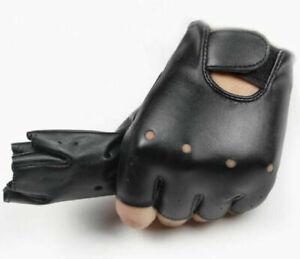 Boy Girl Children Party Fingerless Synthetic Leather Rock Black short Gloves