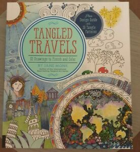 Tangled Travels: 52 Drawings to Finish and Color by Jane Monk PB Like New