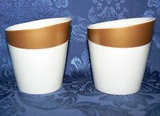 STARBUCKS 2012 8 OZ SET OF 2 NEW BONE CHINA PORCELAINE GOLD COCOA COFFEE MUGS
