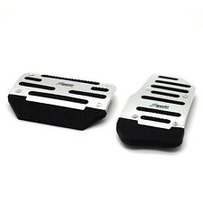 2 Pcs Aluminium Alloy Brake Cover Pad Foot Treadle Pedal Silver For AT Small Car
