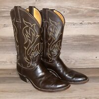 Justin Western Cowboy Boots Mens Size 9.5 D Brown Leather Style 5514 MADE IN USA