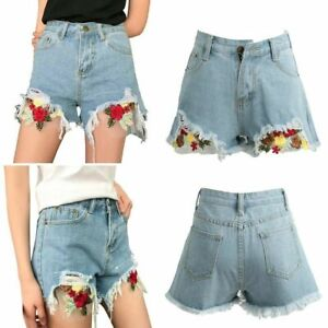 Women Summer Ripped Denim Jeans Shorts w/Floral Skinny Casual Hot Pants Turn Up