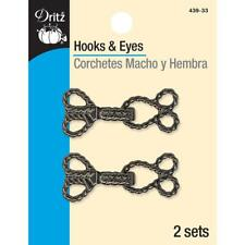 DRITZ- ROPE HOOKS AND EYES- GUNMETAL (2 SETS)