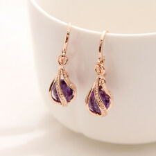 New Gold Plated Cubic Zirconia Purple Party Earrings Drop Dangle Jewellery Gift