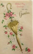 Unused Vintage Card Volland Grandma Mother's Day Yellow Umbrella and Roses