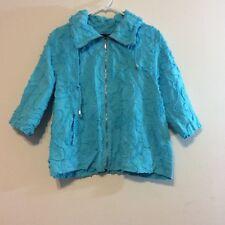 Susan Graver womens coat size M 3/4 sleeve teal with textured design zipper