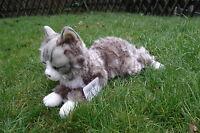 Katze, liegend grau getigert 50 cm, Plüschkatze, Stoffkatze