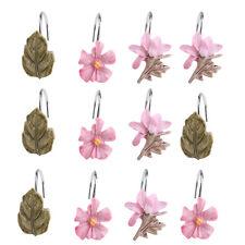 12PCS Home Decorative Shower Curtain Hooks for Bathroom retro leaves flower Pink