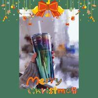 New Starbucks 2020 China Xmas Purple Green Oil Slick 20oz Glass Cup Tumbler